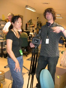 Robin Lung & Leigh Mierke prepare to film the initial inspection of KUKAN at AMPAS