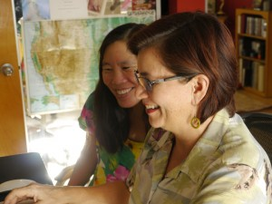 Robin Lung & Shirley Thompson view FINDING KUKAN footage