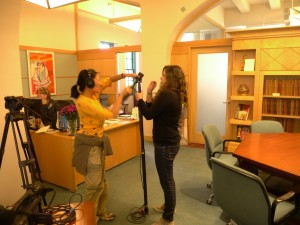 Photo of Ann Kaneko and Rebecca Bozzo in Margaret Herrick Library