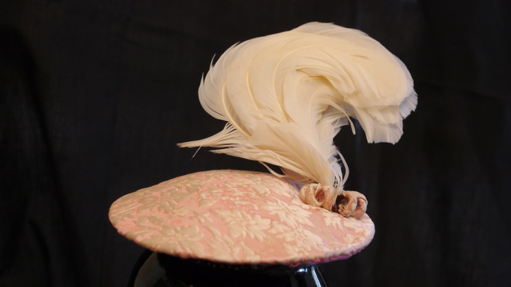 Photo of pink brocade hat.