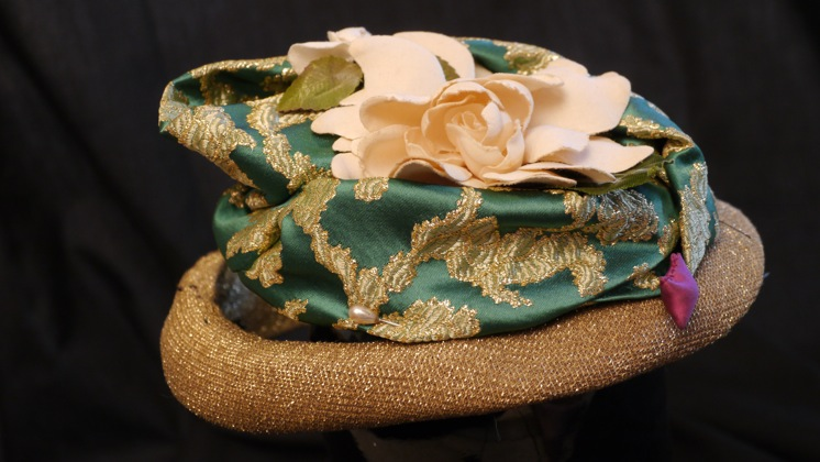 Gold-banded camellia hat by Nick Savage