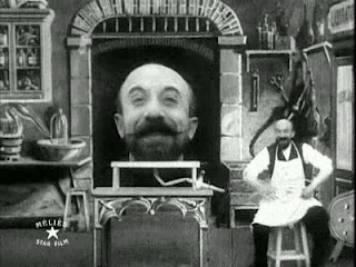 Still from Melies's THE MAN WITH THE RUBBER HEAD