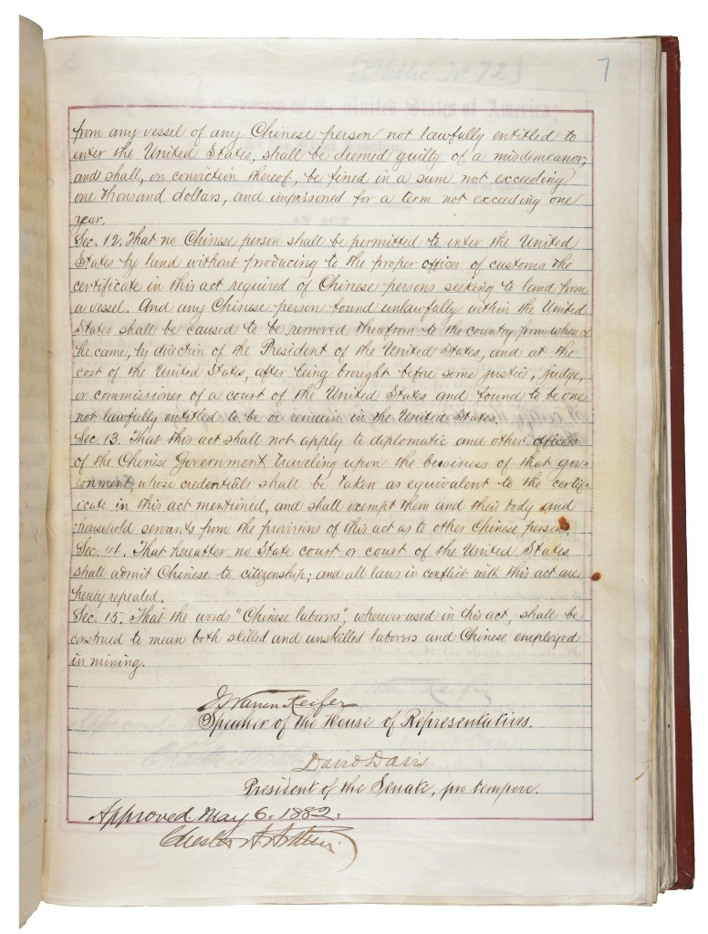 Signature Page of the 1882 Chinese Exclusion Act