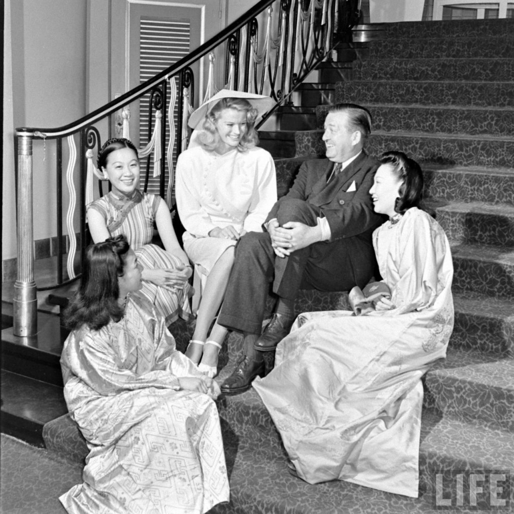 Publicity photo of Li Ling-Ai, with K.T. Stevens, James Blaine, Lee Ya Ching, and unidentified Chinese woman