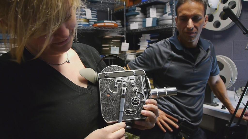 Laura Major demonstrates the workings of her 16mm vintage Bolex