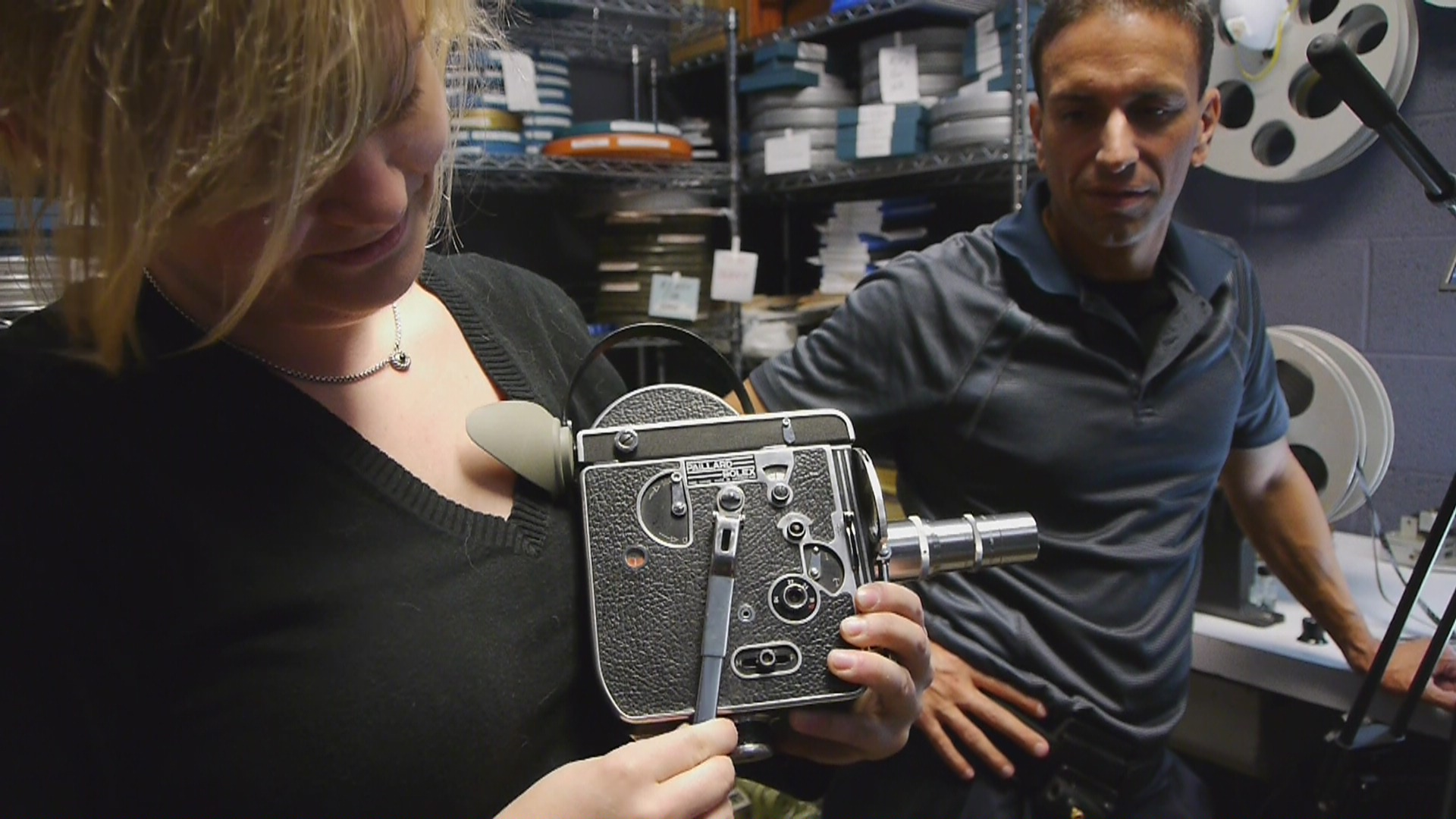Laura Major demonstrates the workings of her 16mm vintage Bolex