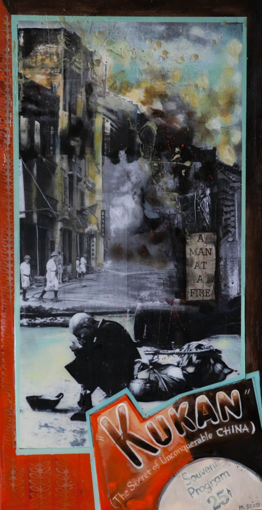 """Chungking Burning"" Mixed Media by Michelle Scott"