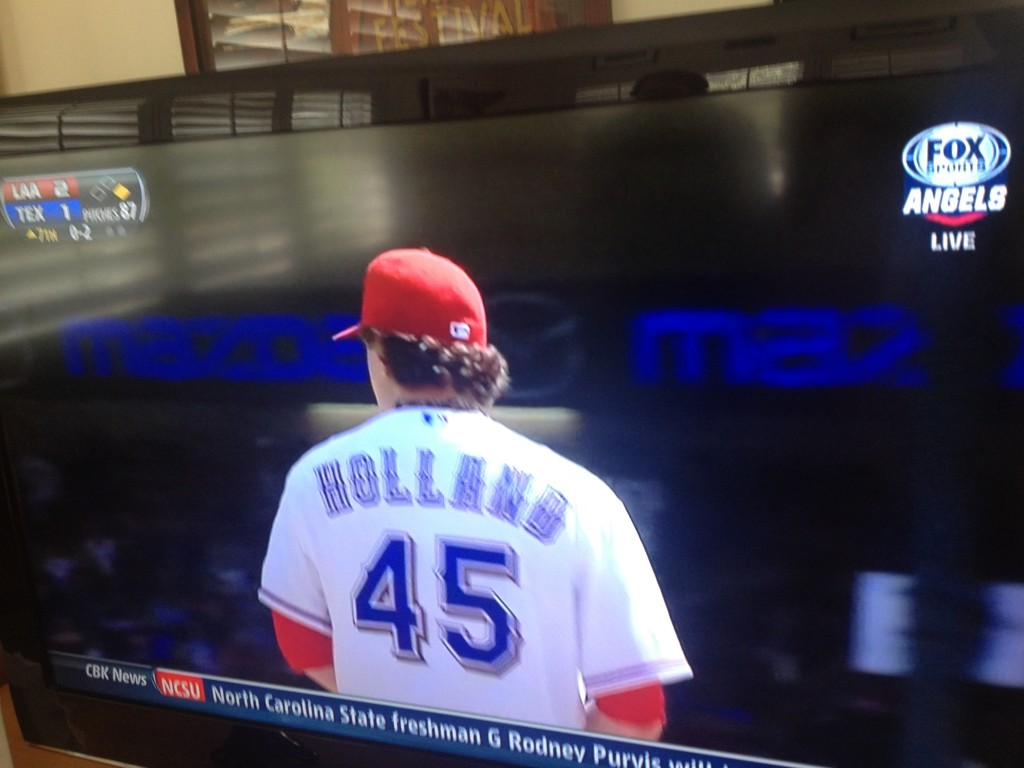 The real Derek Holland takes the mound for his first game of the season.  The editing process, like the baseball season, is a long one.