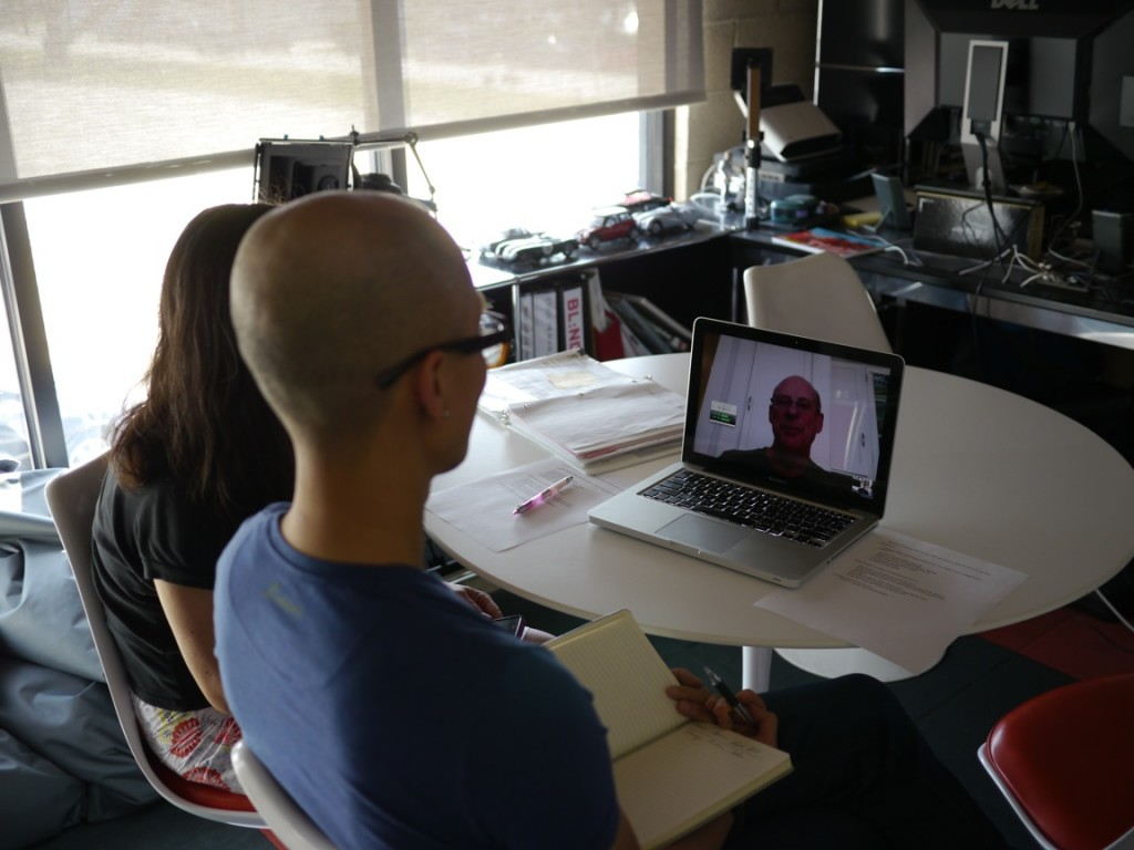 Chris Do and Robin Lung SKYPE Larry Reed from the BLIND offices in Santa Monica