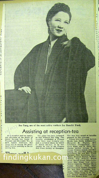 December 1937 Soo Yong hosts tea for China Relief