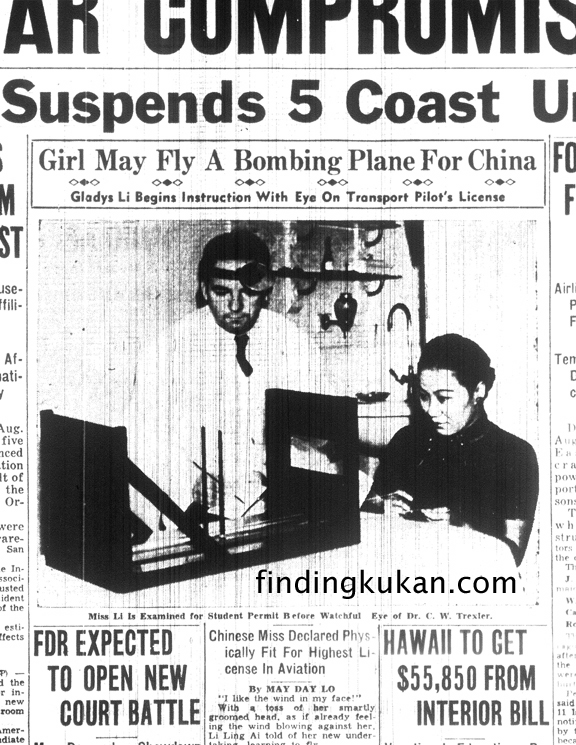 Li Ling-Ai appears on the front page of the Honolulu Star-Bulletin in 1937
