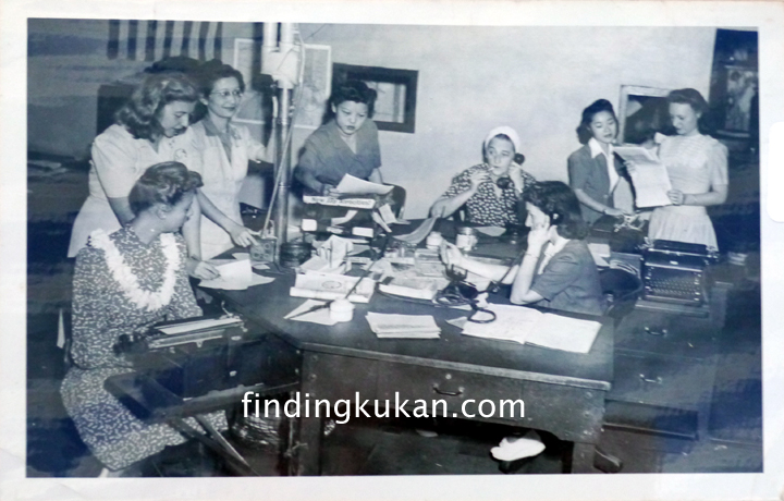 Margaret Kam (center) mans the all female copy desk at the Honolulu Star-Bulletin during WWII (courtesy Susan Cummings)