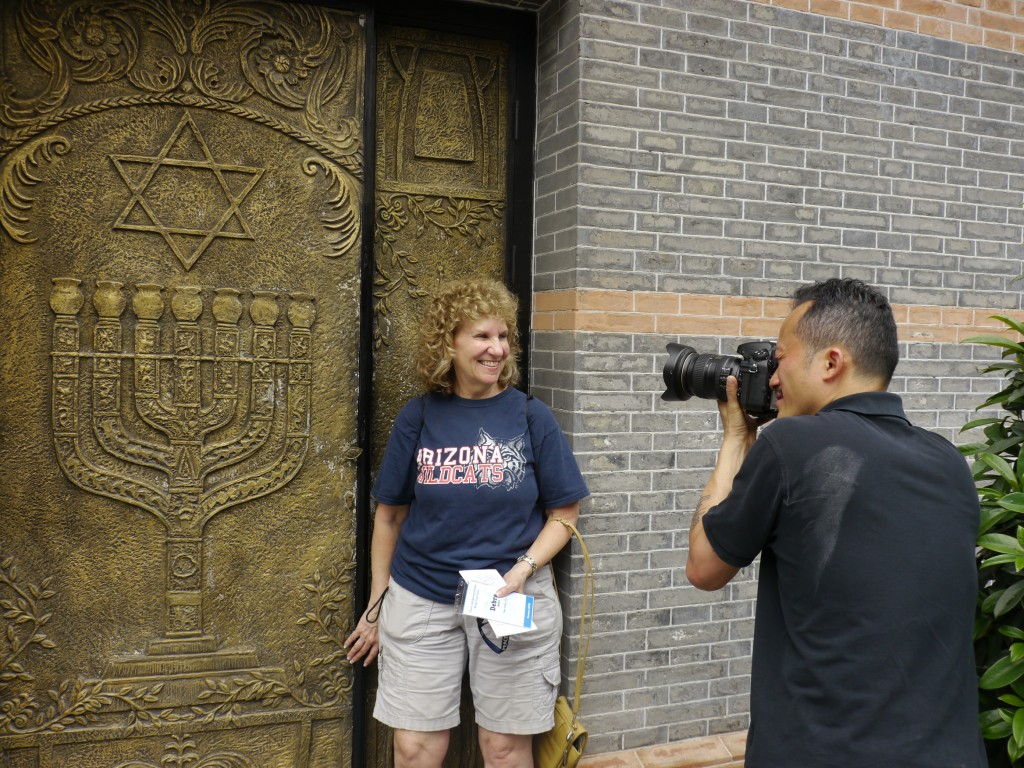 My study tour roommate Debra Maller with our tour documenter Louis Au outside the Shanghai Jewish Refugee museum. Proud that the Chinese took in Jews during WWII when other countries turned them away.