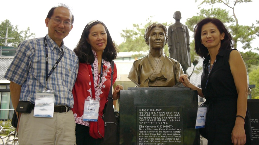 Don Tow, Robin Lung, and Judy Cho at memorial to Kim Hak-Soon, the first woman to publicly testify to being a sexual slave to the Japanese military during World War II