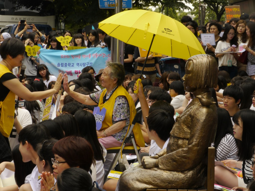 86 year old Grandma Gil continues to advocate for women in weekly demonstrations in Seoul.  She was forced into sexual slavery at 13 years old.